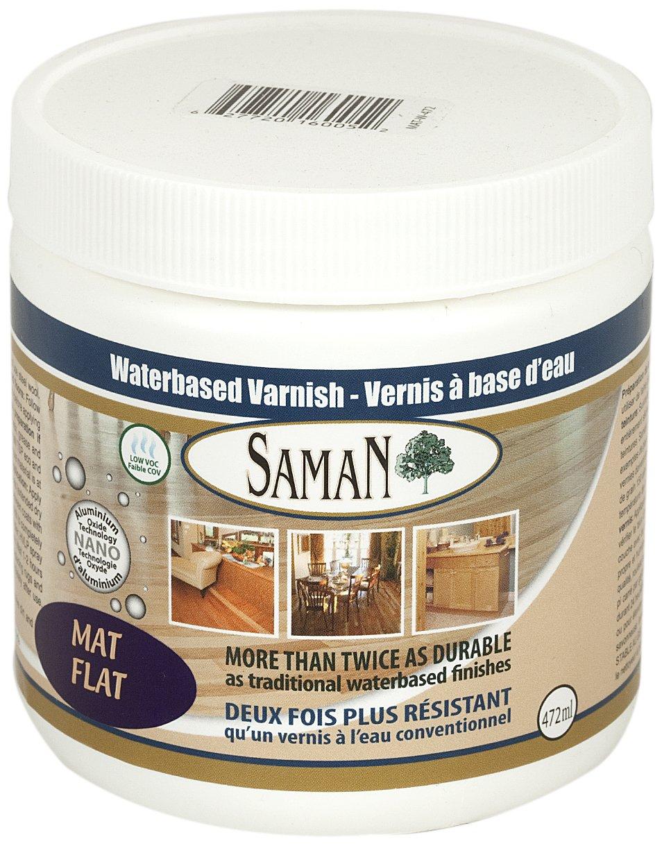 SamaN 160-005-472ml 1-Pint Interior Water Based Flat Varnish with Aluminum oxide
