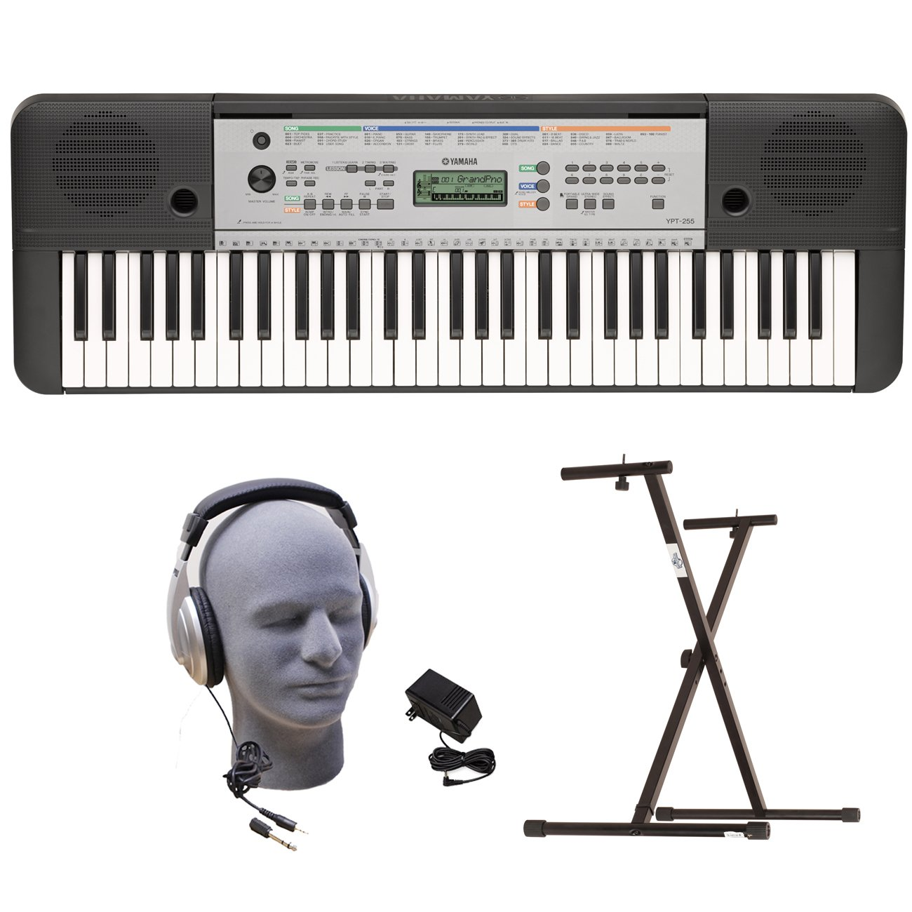 Yamaha YPT255 61-Key Keyboard Pack with Headphones, Power Supply, and Secure Bolt-On Stand by YAMAHA