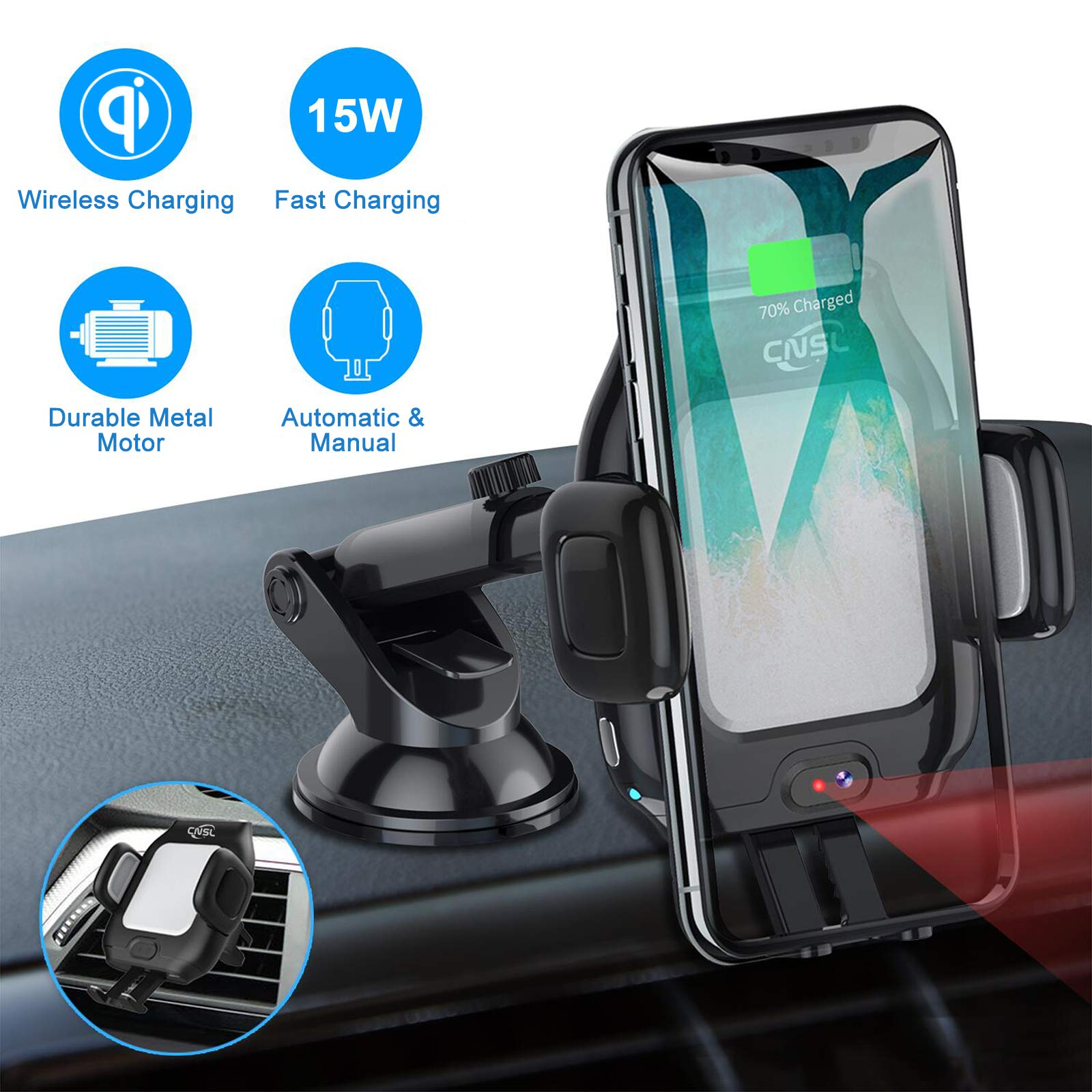 Wireless Car Charger Mount,CNSL Patent Auto Clamping QI 15W Fast Charging Metal Motor Phone Holder with Strong Suction,Air Vent Windshield Dashboard Stand,Compatible with iPhone Xs/XR/8,Samsung S10/S8 by CNSL