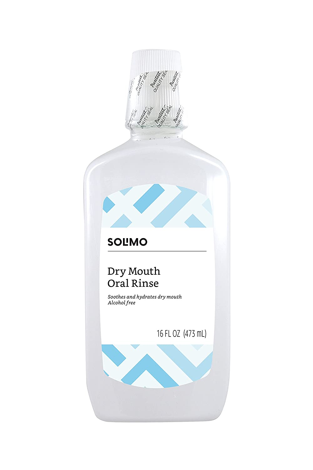 Amazon Brand - Solimo Dry Mouth Oral Rinse, Alcohol Free, Mint, 16 Fluid Ounces