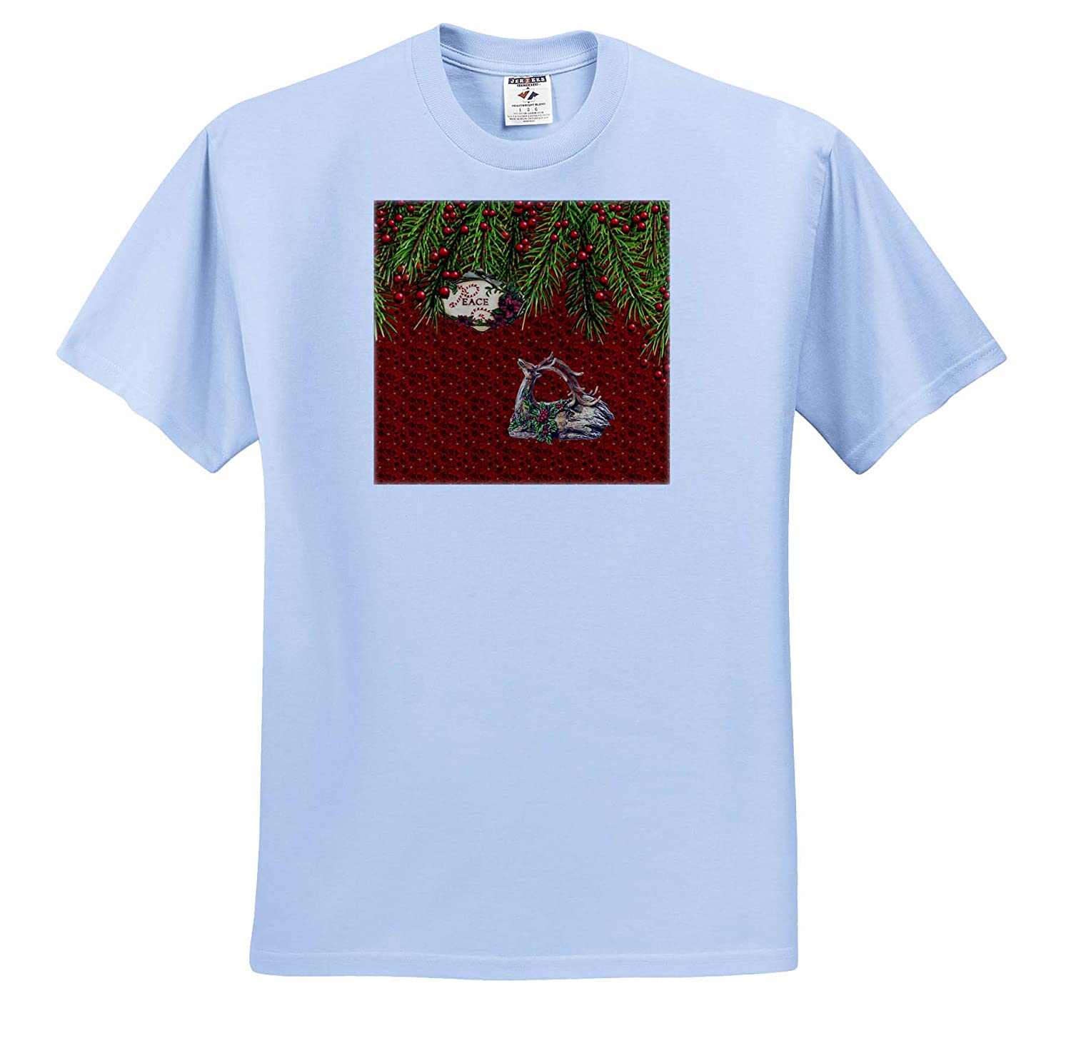 Deer Looking Up at Evergreen Berries Peace Words Poinsettias Design 3dRose Beverly Turner Christmas Design T-Shirts