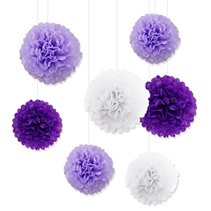 Amazon tissue paper pom poms assorted white purple paper tissue paper pom poms assorted white purple paper flowers balls for wedding decorations pompoms light purple mightylinksfo