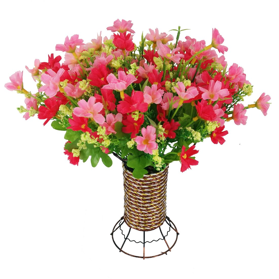 garwarmのセット4 bunches Lifelike Natureモダンデザイン装飾人工フェイクTabletop Cineraria Flower with Ironプランターポット花瓶ホームオフィス装飾(ローズレッドとピンク) LJ-FZH-026 B01NACKMVF  Pink Cineraria