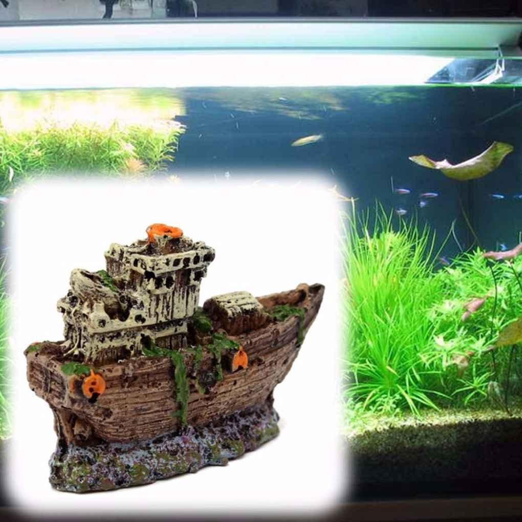 fish Ornamento del acuario del barco pirata hundido Barco naufragio Tank Waterscape cueva Decoración: Amazon.es: Hogar