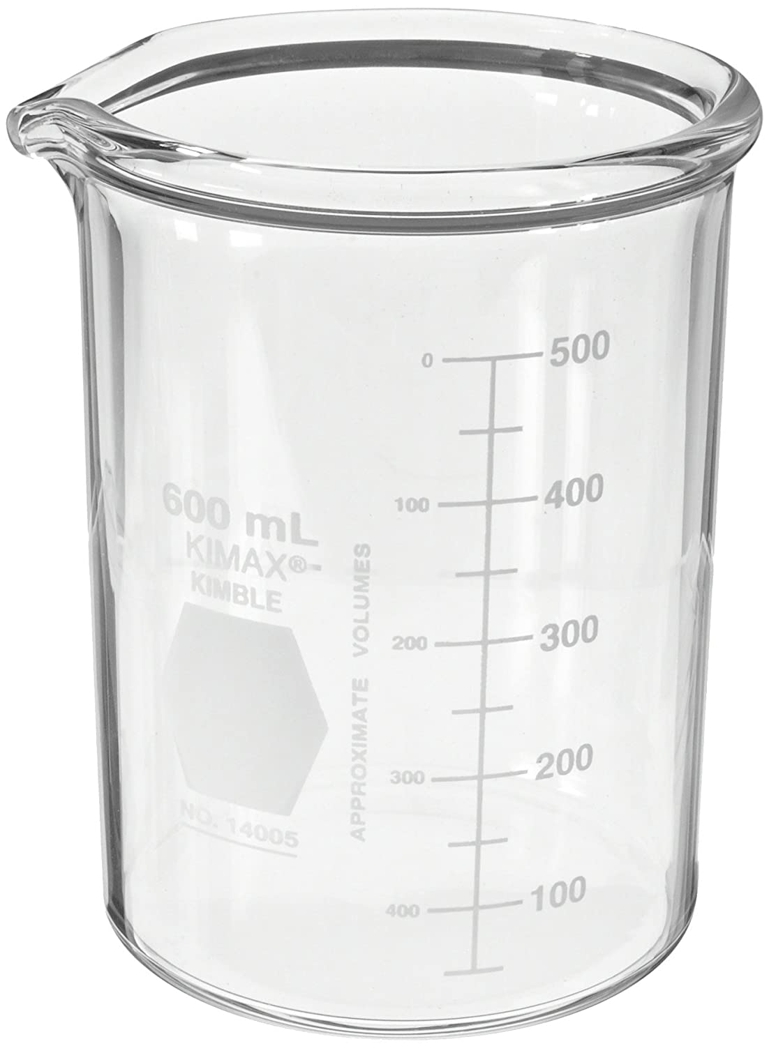 Kimax KG-33 borosilicate glass Griffin heavy-duty low-form beaker with double capacity scale Kimble Chase
