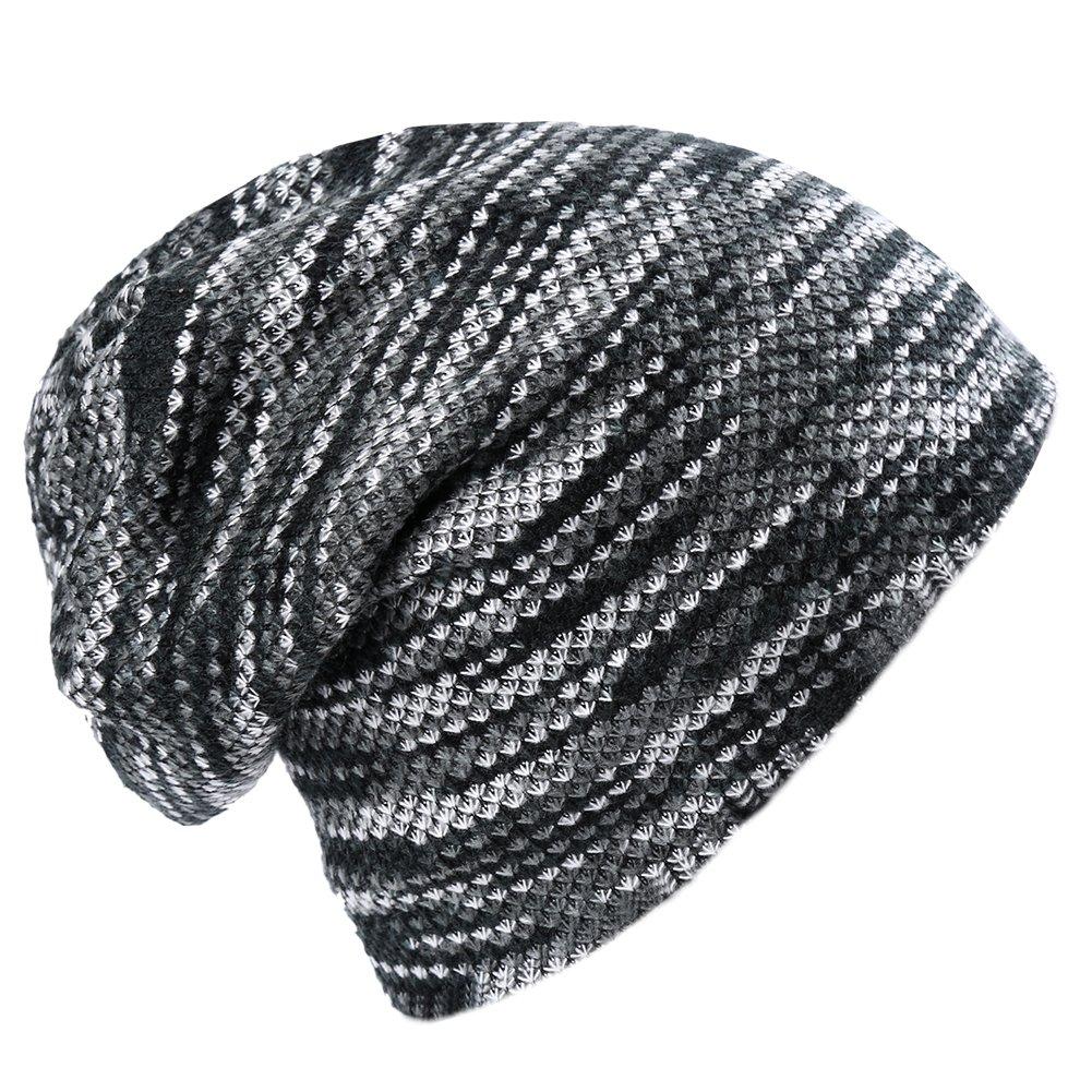 Vbiger Unisex Baggy Beanie Warm Lined Winter Hat Slouchy Knit Skull Cap (Grey)