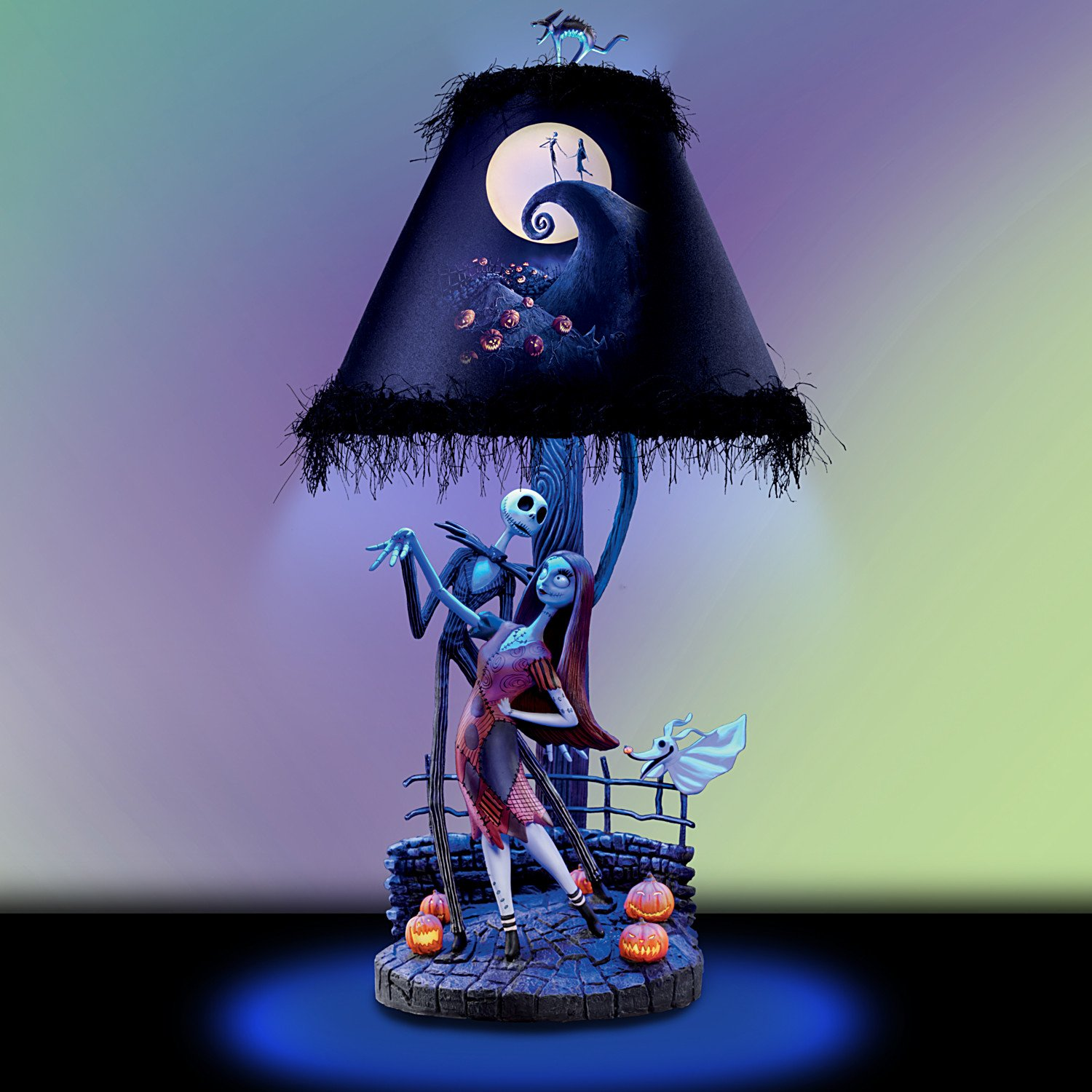 Tim Burtons The Nightmare Before Christmas Moonlight Table Lamp With Jack Sally And Zero By Bradford Exchange