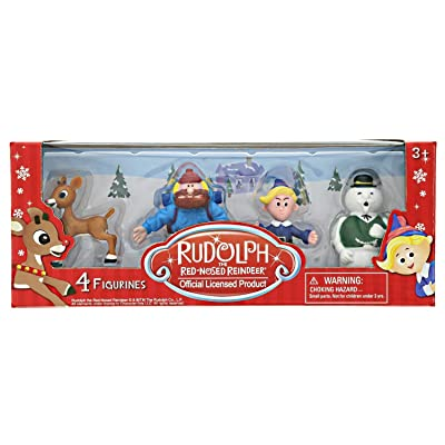 Rudolph the Red Nosed Reindeer Christmas Figurines – 4 Pieces, 2 Inch Plastic Figurine Set – Includes Rudolph, Yukon Cornelius, Hermey – Ideal for Holiday Decorating, Cake Toppers and Playtime: Toys & Games