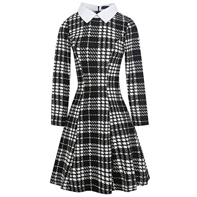 Xaviera 1950 s Vintage Vestido LAS Mujeres de LA Tela escocesa Houndstooth a-Line White at Amazon Womens Clothing store: