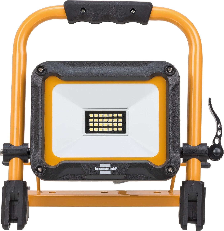 f/ür au/ßen, IP65, mit 2m Kabel, 20W, mit Schnellspannverschluss schwarz//gelb Brennenstuhl Mobiler LED Baustrahler JARO 2000 M