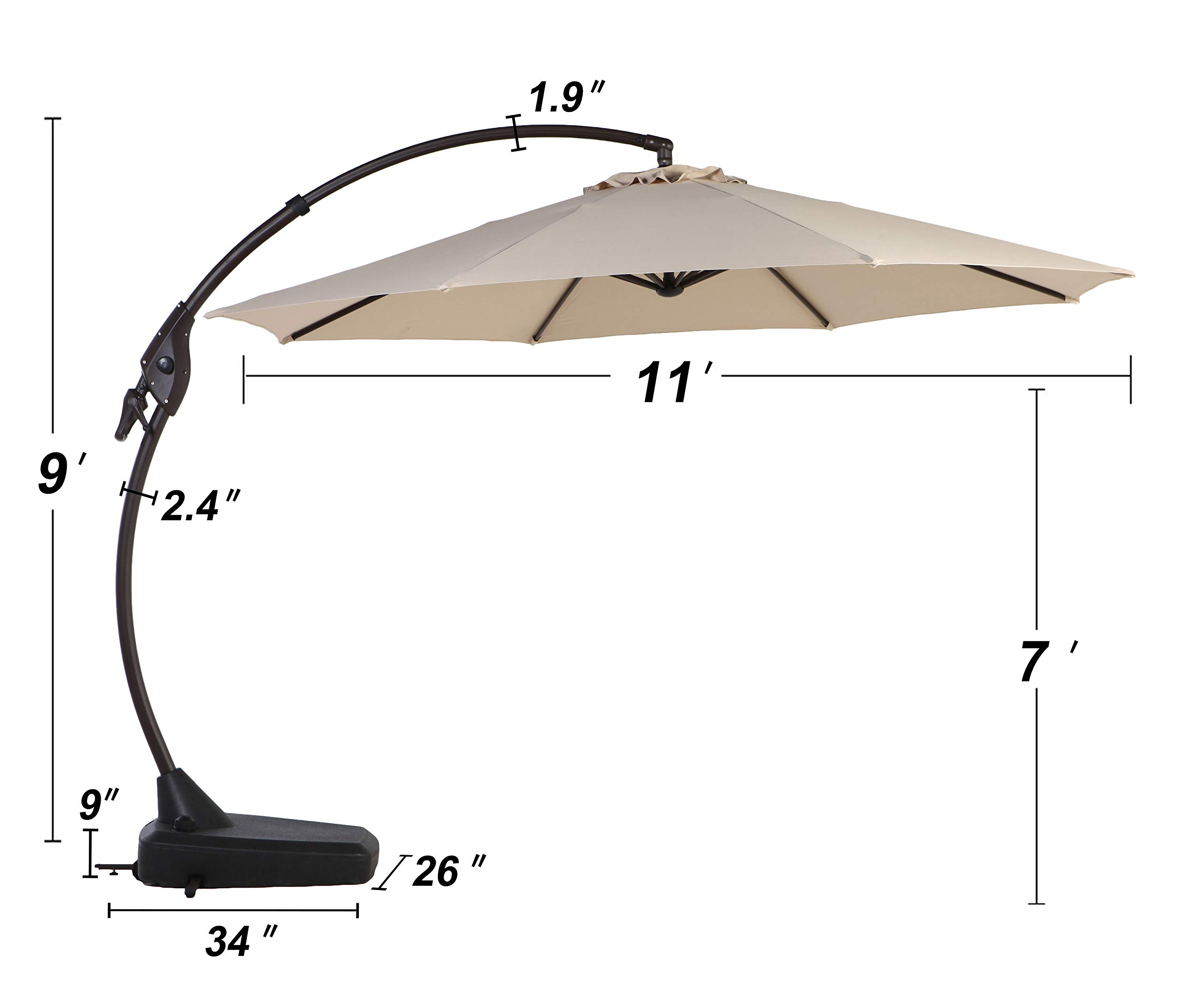 Grand Patio Napoli Deluxe 11 FT Curvy Aluminum Offset Umbrella, Patio Cantilever Umbrella with Base, Champagne by Grand Patio (Image #5)