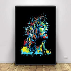Art Design Jesus Christ in a Crown of Thorns Canvas Print Wall Decor Oil Painting Jesus Christ Religious Kitchen Living Room Bedroom Home Decor Christian Gift Home Decor JUES (40x60cm(16x24in))