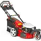 HECHT Benzin-Rasenmäher 5483 SWE 3-Rad Rasenmäher + Elektro-Start Funktion (3,7 kW (5,0 PS), Schnittbreite 46 cm, 60 Liter Fangkorbvolumen, 6-fache Schnitthöhenverstellung 25-75 mm, Radantrieb)