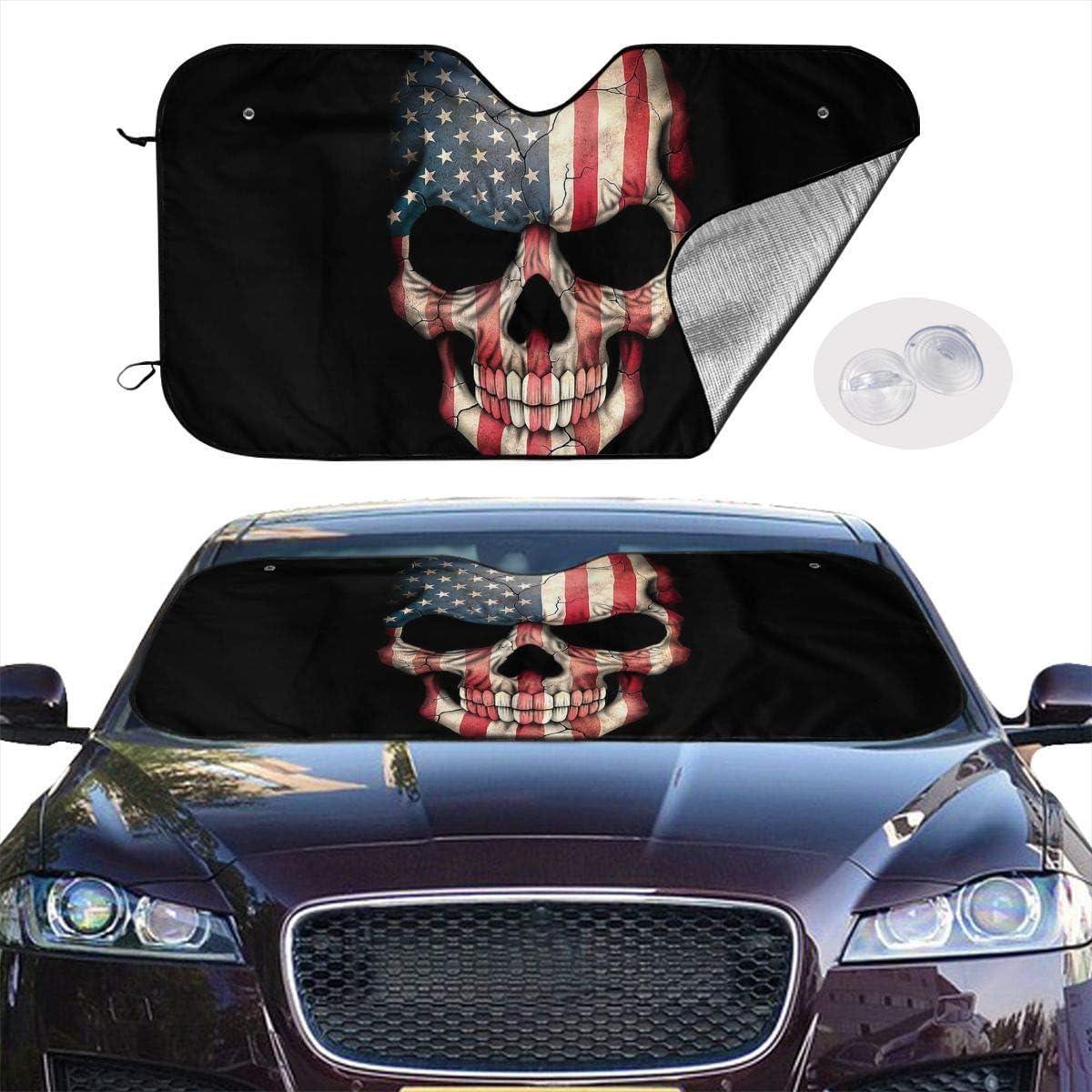 ghkfgkfgk Car Windshield Sun Shade UV Sun Heat Reflector Visor Protector Front Window Sunshade-Dark American Flag Skull