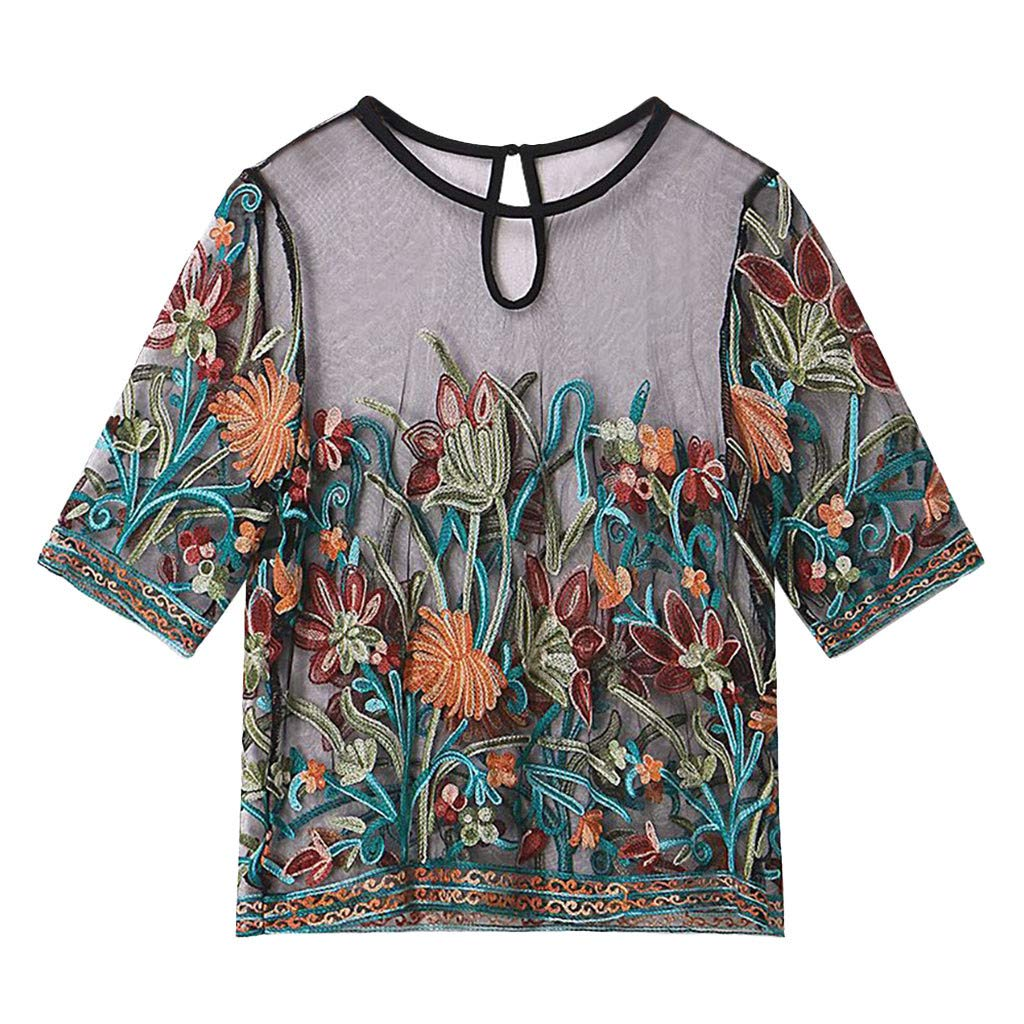 Fineser Women Floral Embroidery Mesh T-Shirt Tulle Short Sleeve See Through Crop Tops, Women Round Neck Shorts Blouse (Black, S)