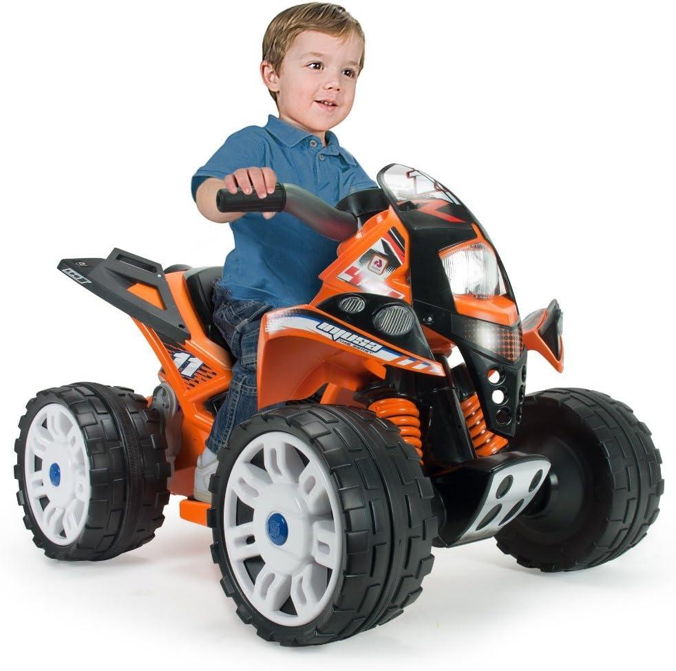 INJUSA - Quad The Beast 6V Recomendado para Niños +2 Años con Bandas de Goma en Ruedas Traseras, Color Naranja