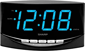 """SHARP Easy to See Alarm Clock with Jumbo 2"""" Numbers - Bright Blue LED Display - Easy Set-up & Simple to Use –See from Across The Room! - High/Low Alarm Volume"""