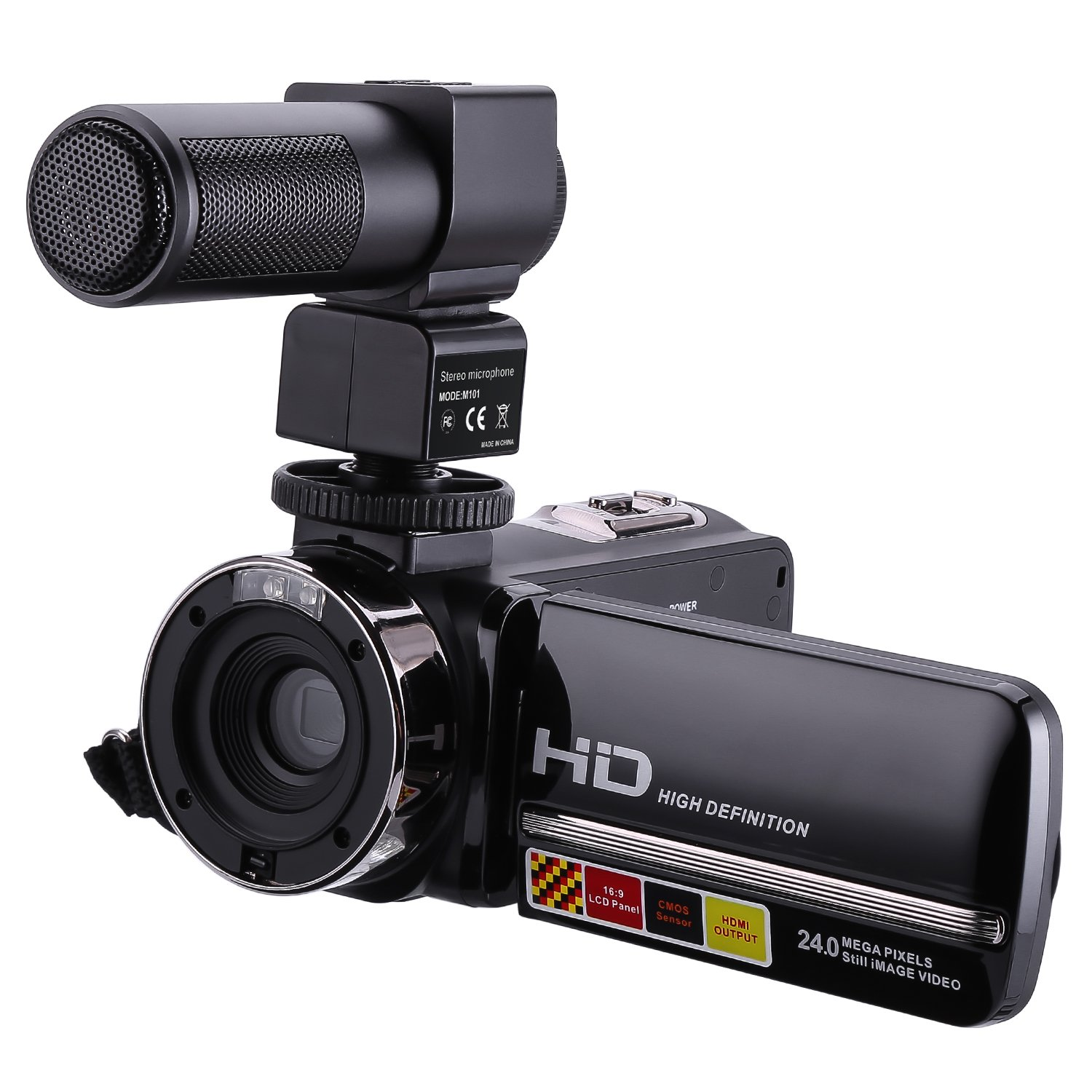 Camcorder With Microphone, Webat 1080P 16X Digital Zoom 3 Inch Touch Screen Portable LCD HDV Video Camera Camcorder