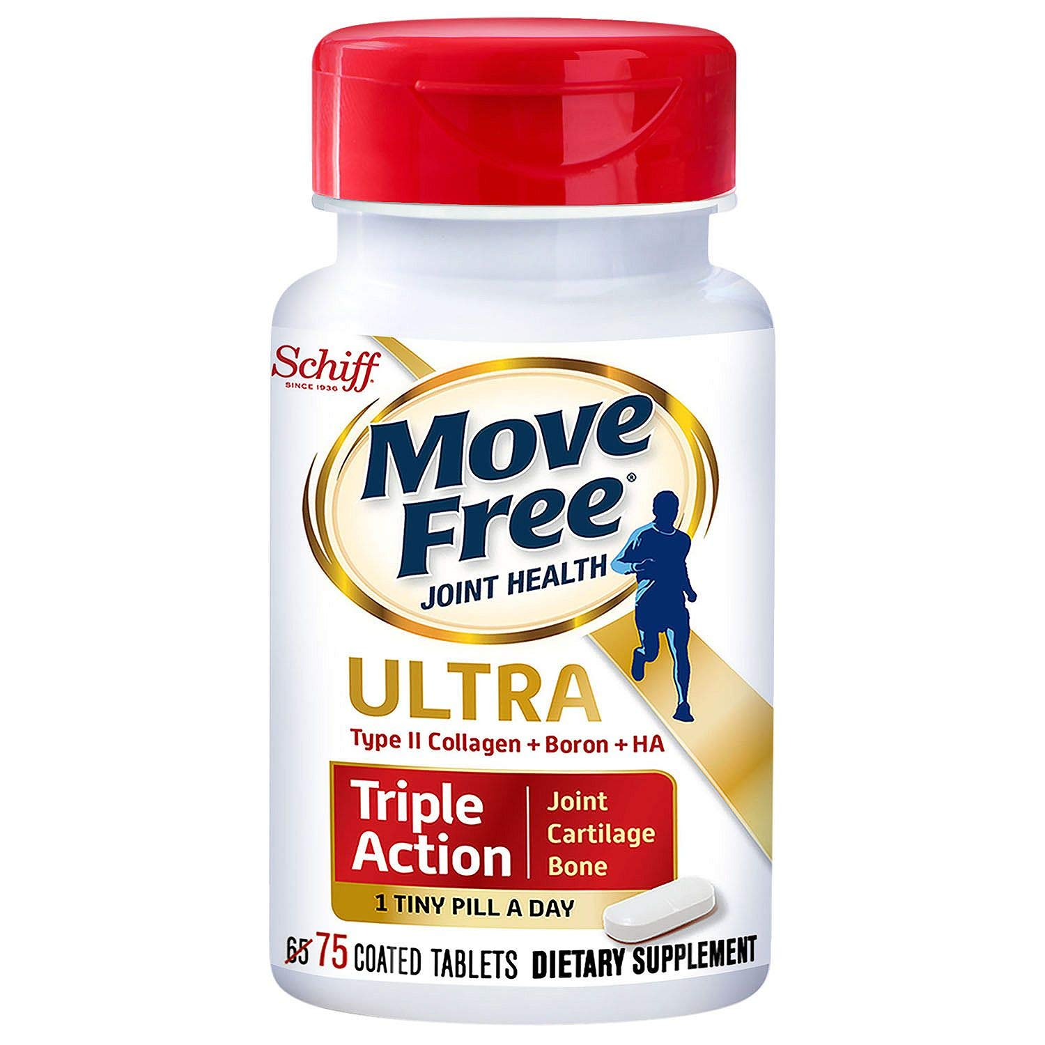 Schiff Move Free Ultra Triple Action Joint Supplement with Type II Collagen, Hyaluronic Acid, and Boron for Joint, Cartilage, and Bone Support (75 Tablets)