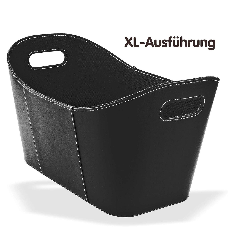 Holzkorb - Brennholzkorb - Kaminholzkorb - Kaminholztasche aus hochwertigem Kunstleder in Schwarz und Braun 53 x 35 x 31 cm (Braun) DS