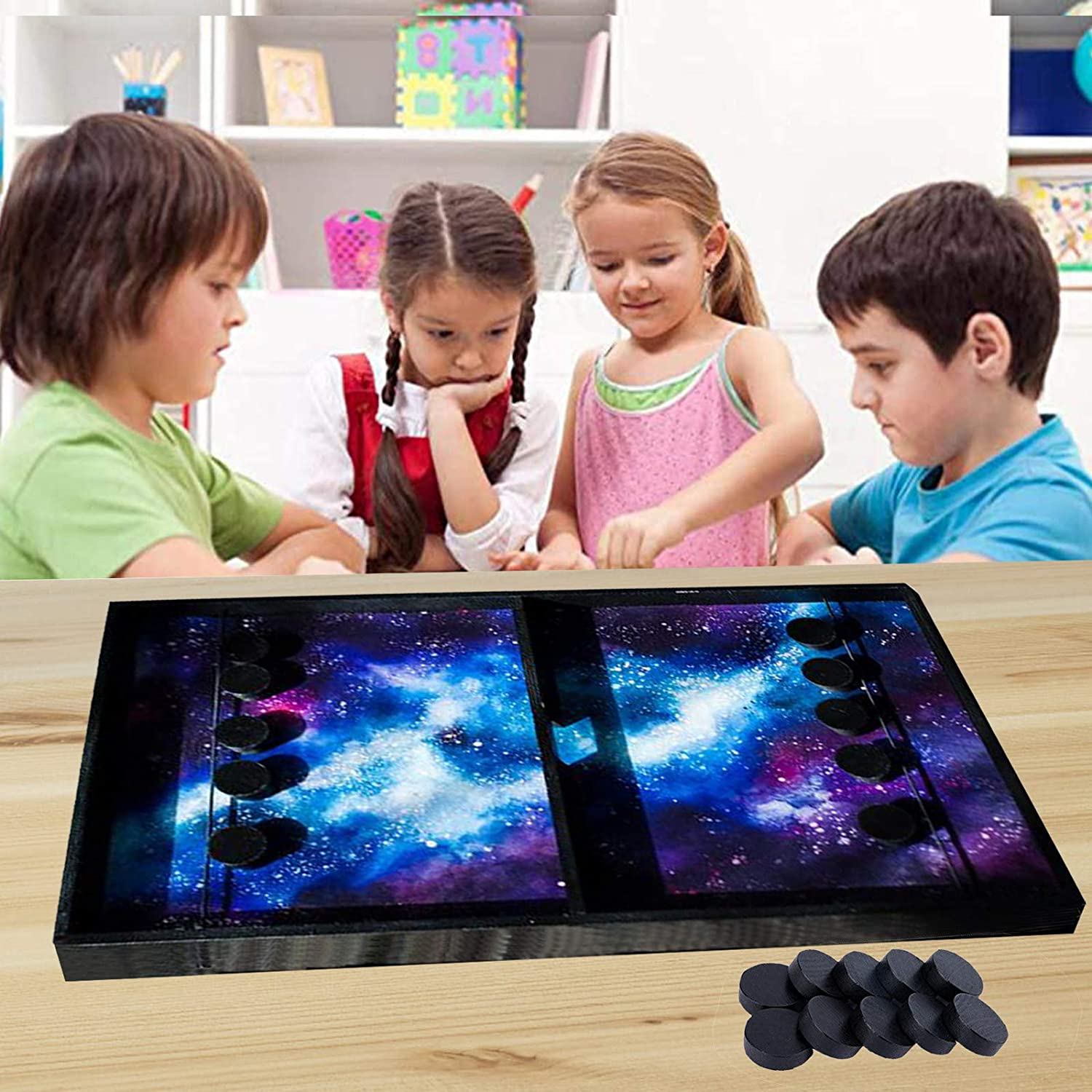 2021 Fast Sling Puck Game,Slingshot Games Toy,2 in 1 Table Desktop Battle Ice Hockey Game,Winner Board Games Toys for Parent-Child,Double Hole Table Football Game Board Table Game for Adults and Kids