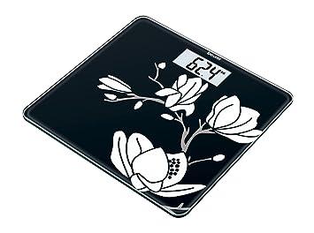 Beurer GS-211 - Báscula de baño de vidrio, color negro con dibujo blanco de magnolia: Amazon.es: Salud y cuidado personal