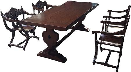 Juego de mesa de comedor de estilo barroco y medieval con 6 sillas de tijera y 1 mesa de madera maciza de 220 cm.: Amazon.es: Hogar
