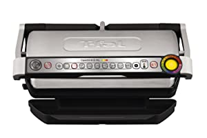 T-fal 7211002168GC722D53 1800W OptiGrill XL Stainless Steel Large Indoor Electric Grill with Removable and Dishwasher Safe Plates, Silver