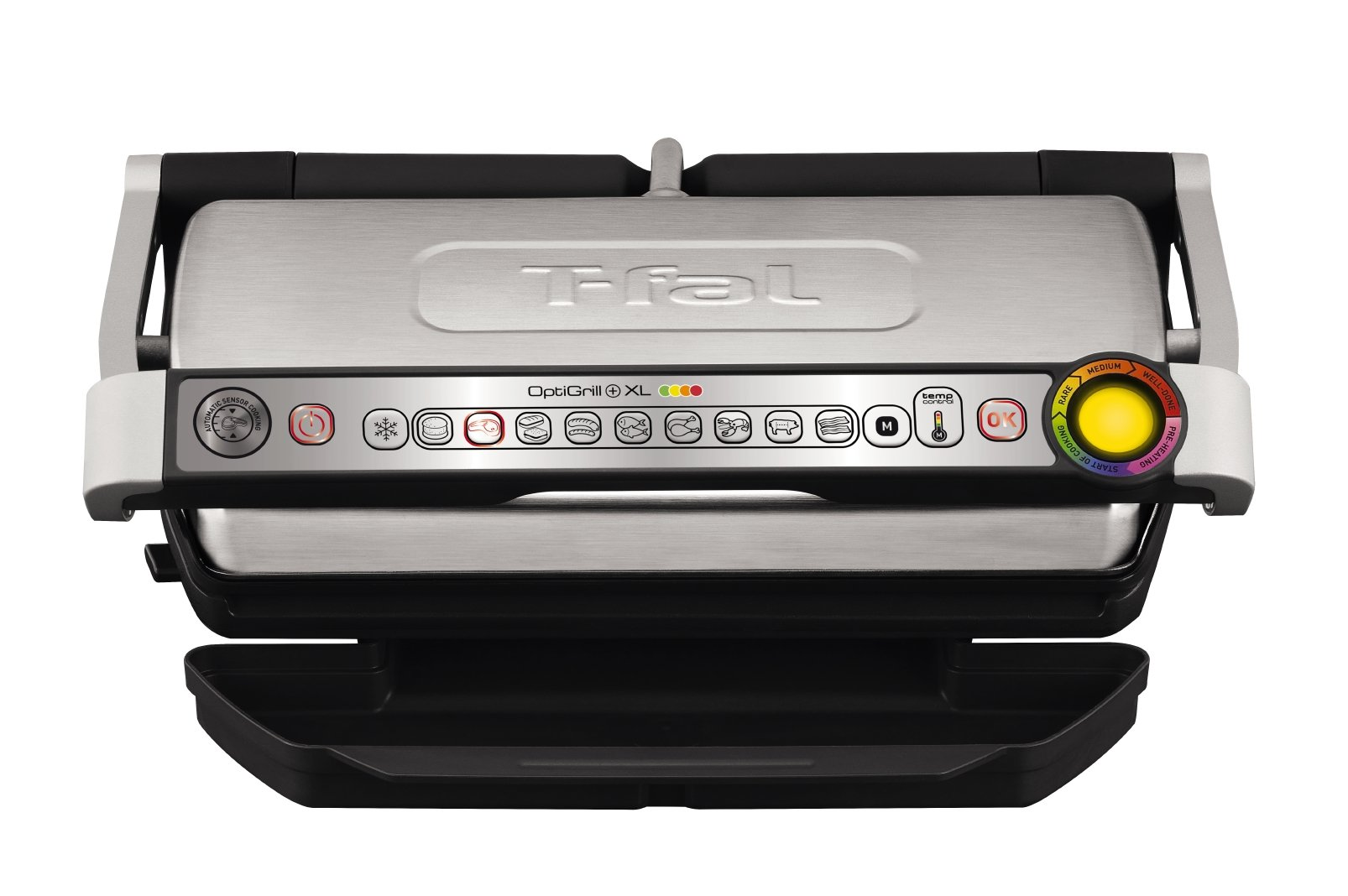 T-fal GC722D53 1800W OptiGrill XL Stainless Steel Large Indoor Electric Grill with Removable and Dishwasher Safe Plates, Silver by T-fal