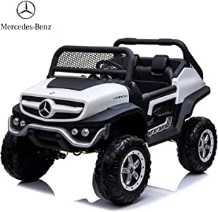 Dorsa Mercedes Benz 4x4 Off-Road Electric ATV Unimog Kids Ride On Car with Remote Control, 2 Seaters, 2 Motors, Openeable Doors, Suspension System, Music Player -White