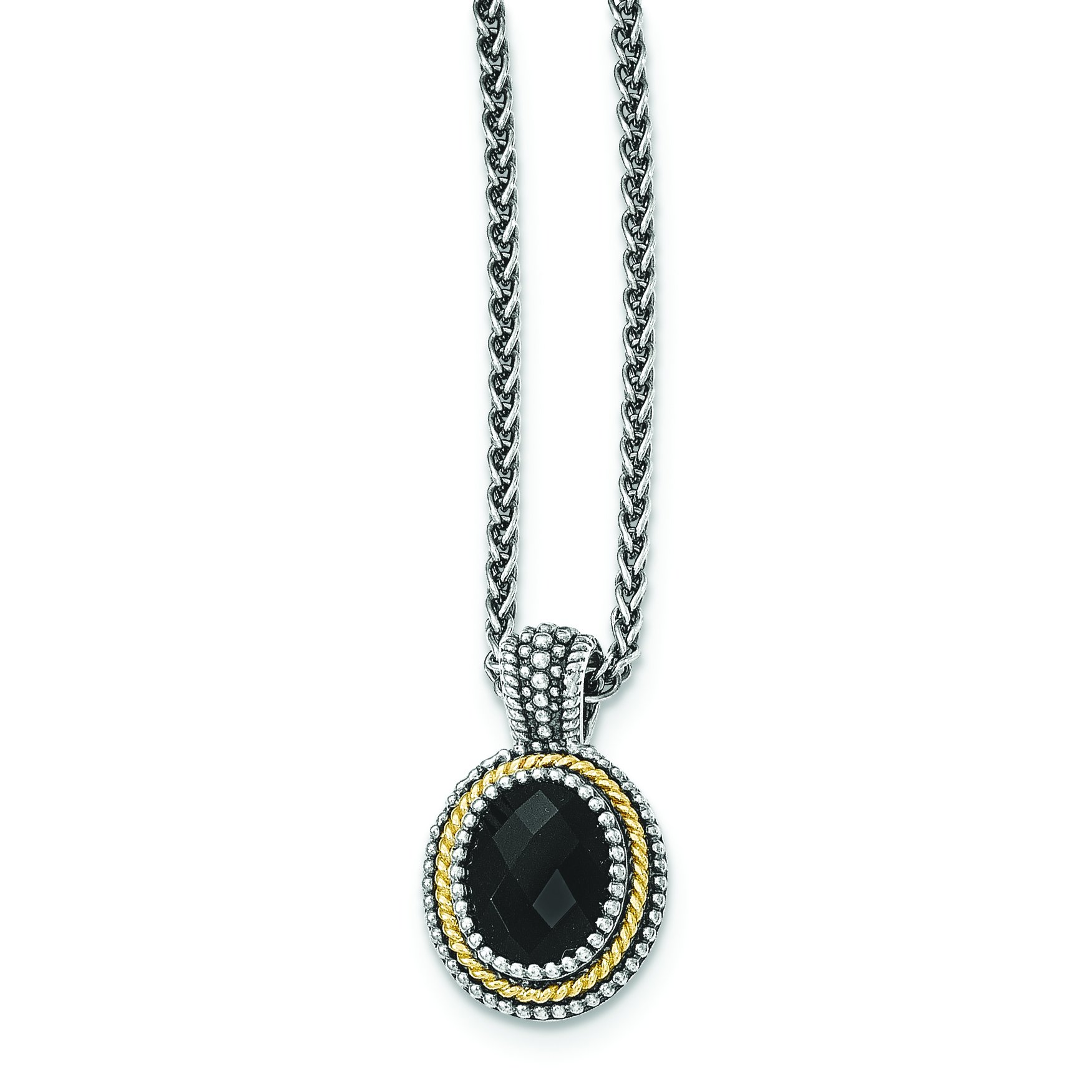 ICE CARATS 925 Sterling Silver 14k Black Onyx Chain Necklace Gemstone Fine Jewelry Gift Set For Women Heart by ICE CARATS