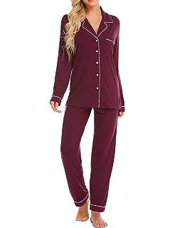 5907f41f12 Ekouaer Pajamas Women s Long Sleeve Sleepwear Soft Pj Set XS-XXL