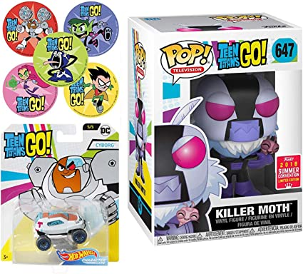 Action Stickers Funko Vinyl Mini Titans Go Character Teen Titans Killer Moth Figure /& Blind Box Series Adventure Cartoon Toy Super Pop Exclusive Beast Boy /& Cyborg 3 Items AYB Products Raven Starfire Robin