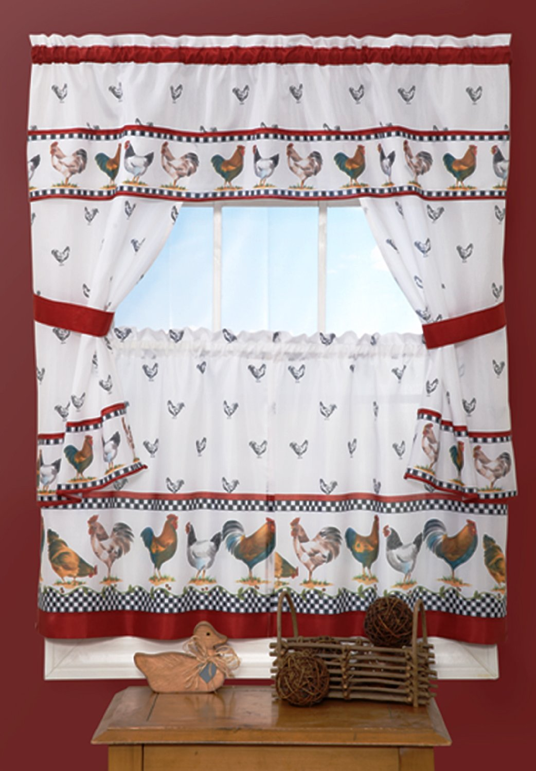 """Sweet Home Collection 4 Piece Kitchen Curtain Set with Tier Pair, Tiebacks, and Valance, 36"""", Morning Rooster"""