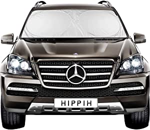 Hippih Decor Car Windshield Sun Shade with 2 Ears - Auto Universal Car Sunshade to Keep Your Vehicle Cool, Blocks UV Rays Sun Visor Protector, Fits Windshields of Various Size (Large 63 x31 inches)