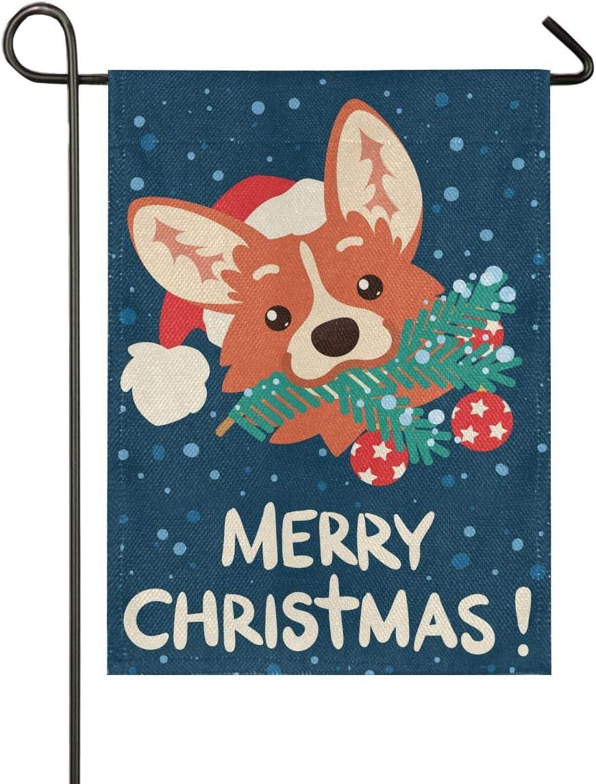 ALAZA Merry Christmas Cute Corgi Dog Burlap Garden Flag Home Banners, Double Sided Welcome Farmhouse Outdoor Yard Decorative Flag 12 x 18 inch
