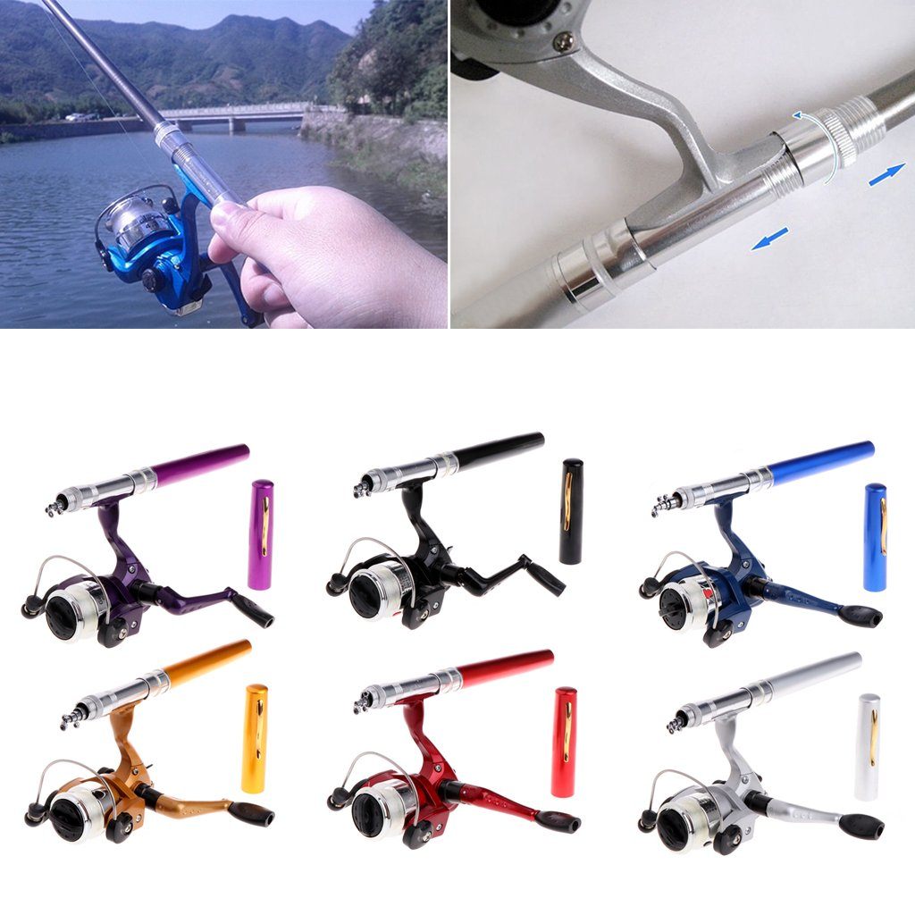 EAPTS Mini Portable Aluminum Saltwater Baitcasting Fishing Rod Pole Reel Pocket Pen