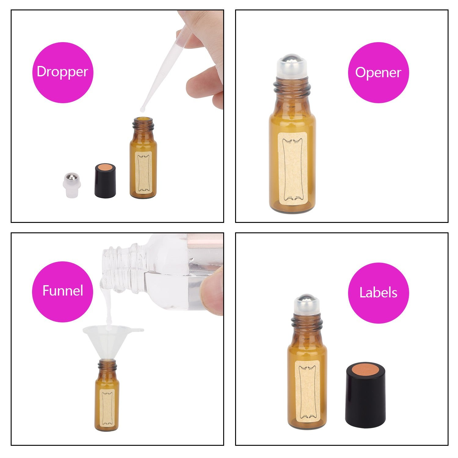 Essential Oil Roller Bottles, 24 Pack Amber Glass Roller Bottles 5ml, Roller Balls for Essential Oils, Roll on Bottles by Easytle (96 Pieces Labels, 4 Funnels, 4 Dropper, 2 Opener) by Easytle (Image #6)