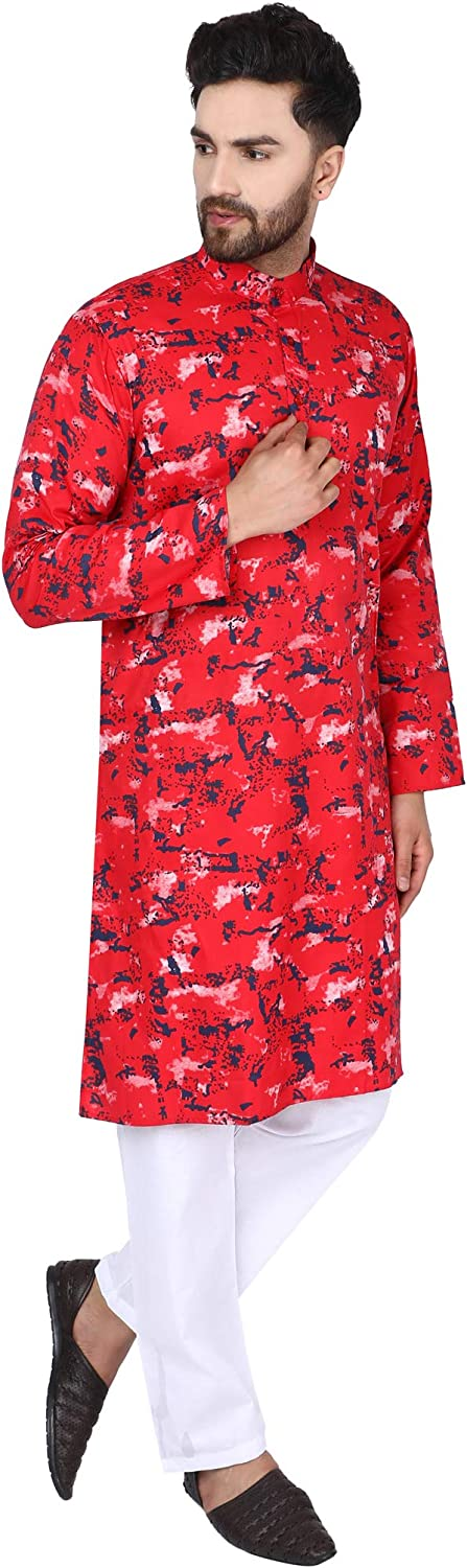 SKAVIJ Mens Tunic Cotton Kurta Pajama Set Indian Yoga Summer Casual Dress