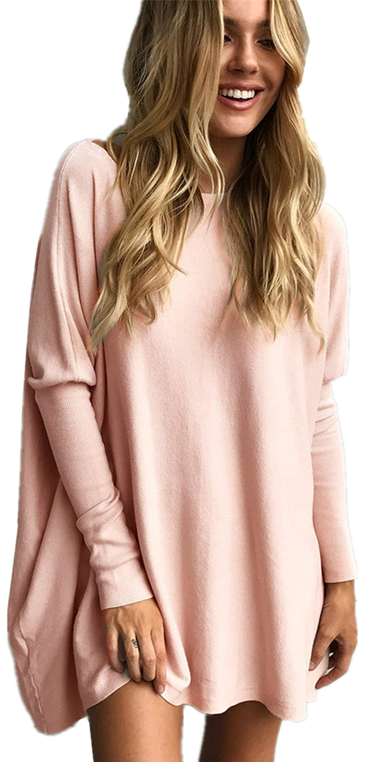 LIYOHON Women's Tunic Tops for Leggings Casual Oversized Shirts Batwing Long Sleeve Loose Fitting Pullover Tops Tunics 1-Pink L by LIYOHON