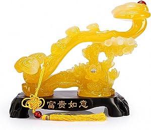 BOYULL Feng Shui Yellow Ruyi Statue, Chinese Charm of Prosperity Home Decoration,Feng Shui Decor
