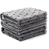 1 Pack 3 Blankets Super Soft Cute Dot Pattern Pet Blanket Flannel Throw for Dog Puppy Cat Dot (Medium(30x20), Grey)