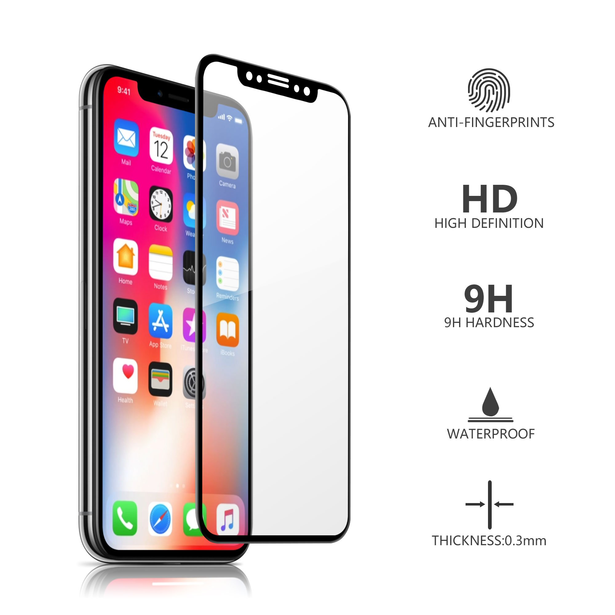 iPhone X Screen Protector, MOZEEDA [3D Touch] 0.33mm Ultra Clear HD Tempered Glass Screen Protector for iPhone X, Durable Sensitive Full Coverage Protector for iPhone X, Anti- Scratch, Bubble Free