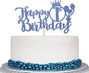 Blue Glitter Happy 1st Birthday Cake Topper - Cheers To 1 Years Cake Decor - 1st Birthday Party Decorations