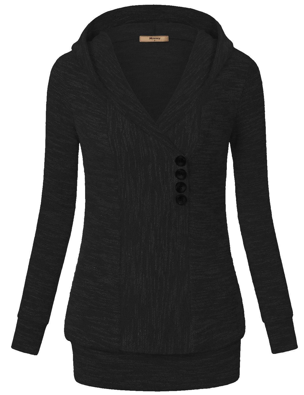 Miusey V Neck Sweater, Women's Long Sleeves Vintage Pullover Ribbed Knit Sweatshirt Hoodies Casual Top Black Large