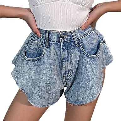 Femmes Denim Shorts Jupe Taille Haute Été Jeans Shorts Lâche