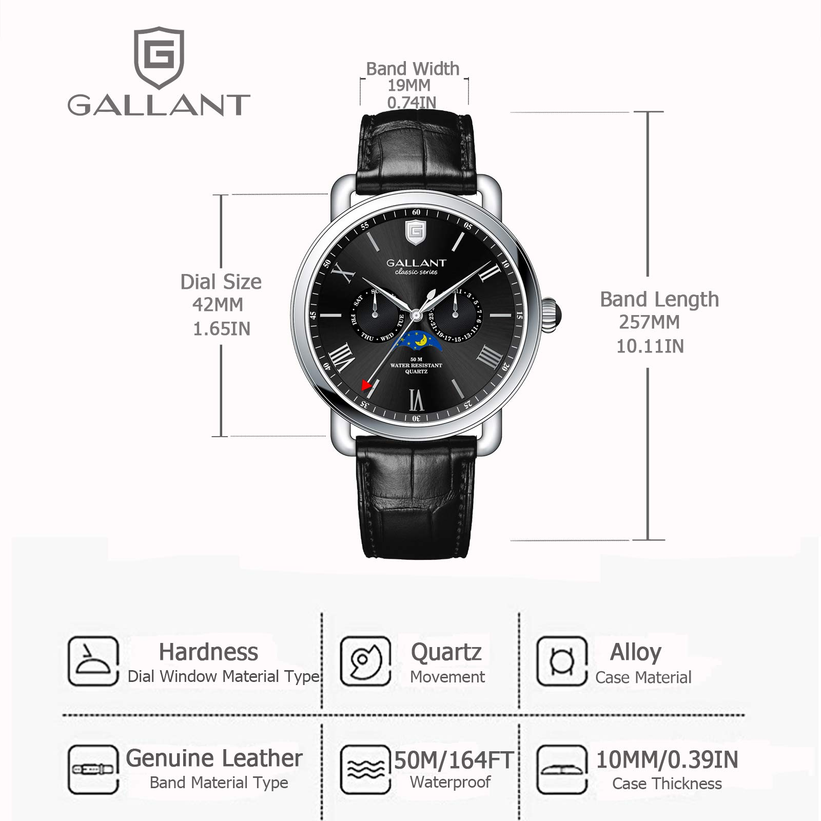 Mens Wrist Watch, GALLANT Analog Quartz Watches Men Wristwatch Leather Band Strap with Date Moon Phrase Date Calendar Waterproof Black Dial Casual Watch for Sports Daily Business