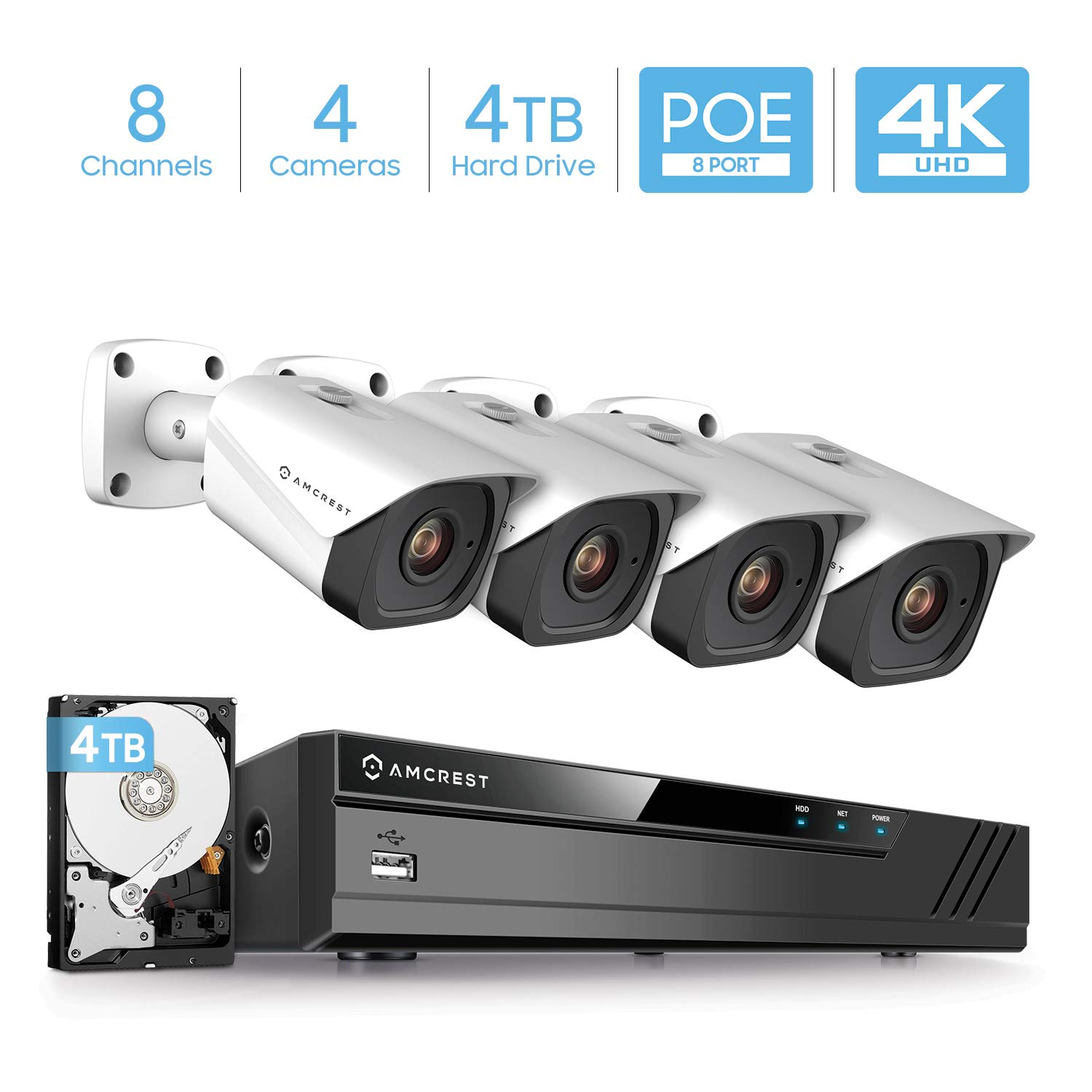 Amcrest 4K Security Camera System w 4K 8MP 8CH PoE NVR, 4 x 4K 8-Megapixel IP67 Weatherproof Metal Bullet POE IP Cameras, Pre-Installed TB Hard Drive, NV4108E-IP8M-2496EW4-4TB White