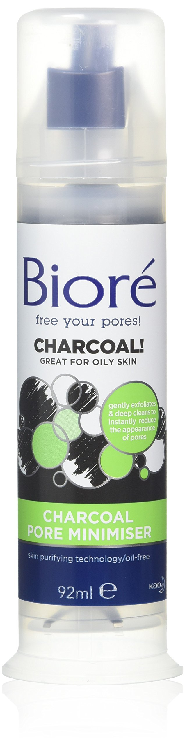 Biore Charcoal Pore Minimiser Face Scrub with Natural Charcoal for Oily Skin, 92 ml