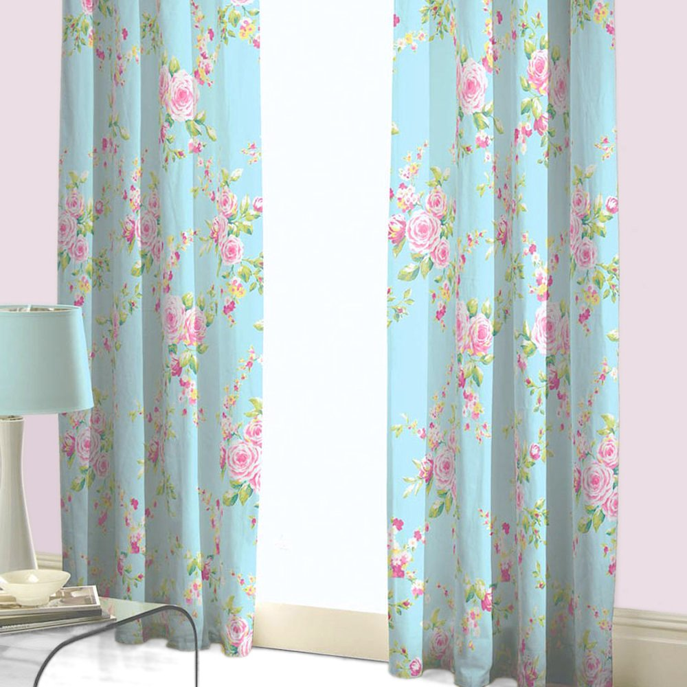 SHABBY BLUE PINK ROSE FLORAL CHIC PENCIL PLEAT FULLY LINED CURTAINS 66X72:  Amazon.co.uk: Kitchen U0026 Home